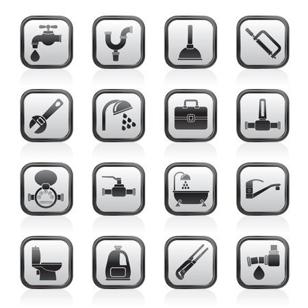 monoblock: plumbing objects and tools icons