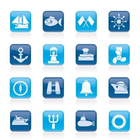Marine, sea and nautical icons Stock Vector - 14120762