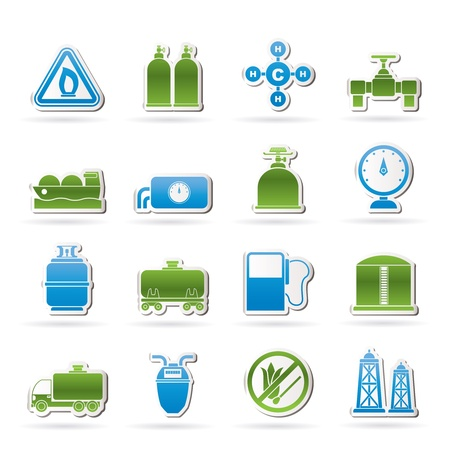 natural gas production: Natural gas objects and icons  Illustration