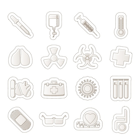 collection of  medical themed icons and warning Vector