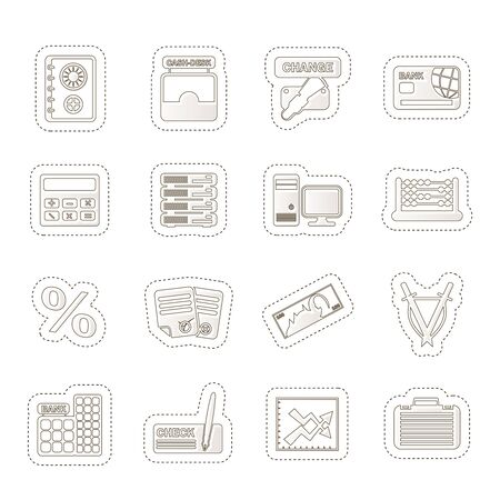bank, business, finance and office icons Stock Vector - 14120935