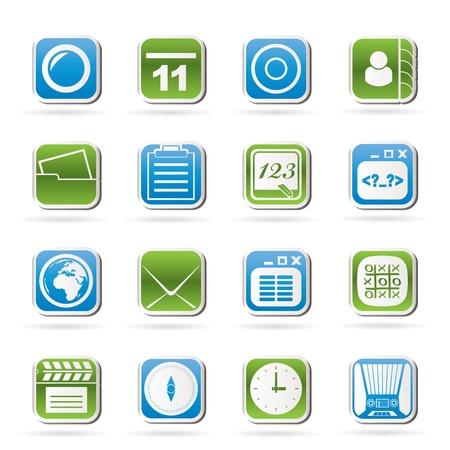 clock radio: Los iconos del tel�fono m�vil y la comunicaci�n Vectores