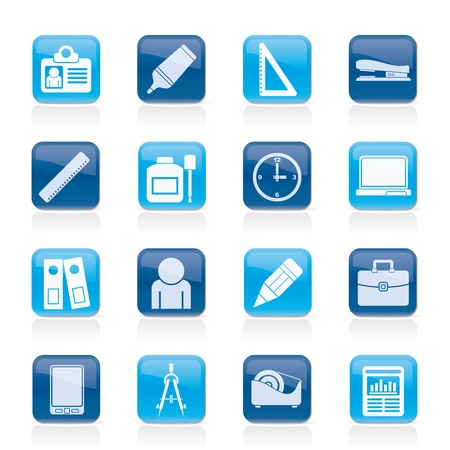 Business and office objects icons  Vector