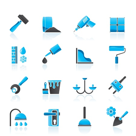 Construction and building equipment Icons Stock Vector - 14221641