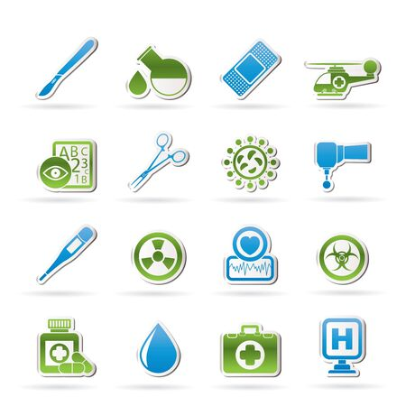 scalpel: Medicine and hospital equipment icons Illustration