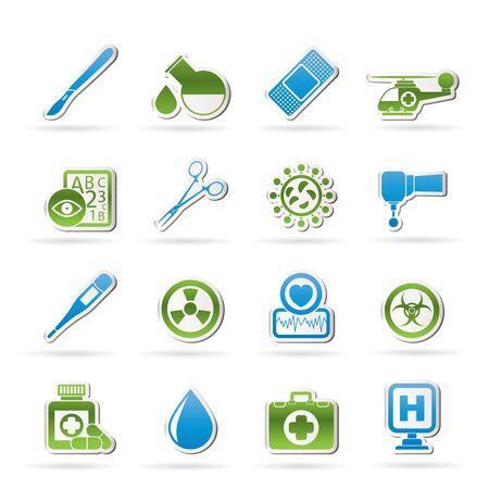 spital ger�te: Medizin und Krankenhaus-Ausr�stung Symbole Illustration