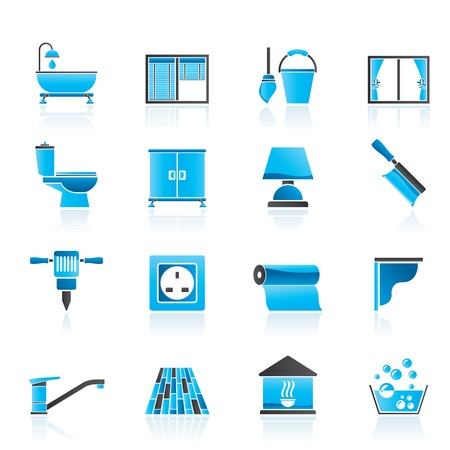 toilet brush: Construction and building equipment Icons - icon set 2