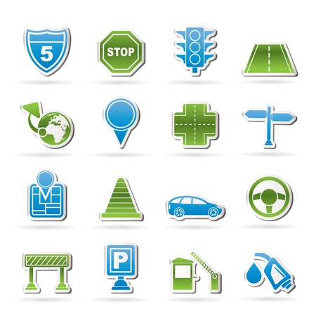 junction: Traffic, road and travel icons - icon set Illustration