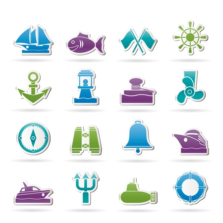 Marine, sea and nautical icons - icon set Stock Vector - 14330274