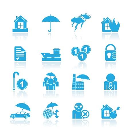 pensioen: Verzekeringen en risico icons-icon set Stock Illustratie