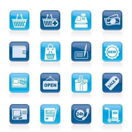 atm card: comerciales y al por menor iconos - conjunto de iconos