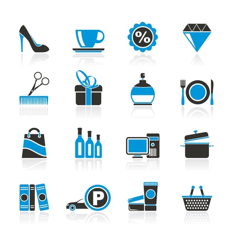 shoppen: Shopping und Einkaufszentrum Icons - Icon-Set