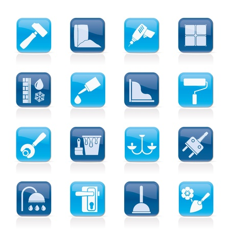 Bouw en uitrusting van gebouwen Icons - icon set 1 Vector Illustratie
