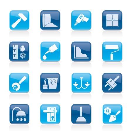 herramientas de plomeria: Iconos de construcci�n y edificaci�n de equipo - un conjunto de iconos Vectores