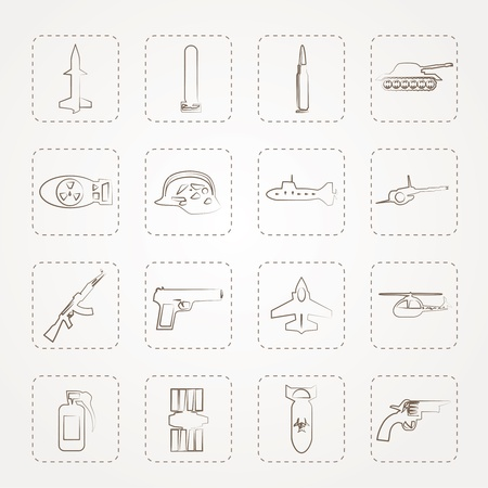 Simple weapon, arms and war icons Stock Vector - 14396889