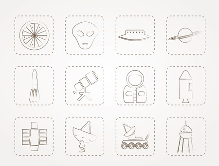 Astronautics and Space Icons Vector