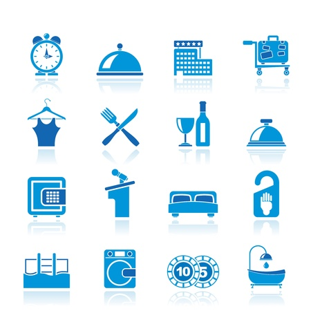 hotel pool: Hotel and motel icons Illustration