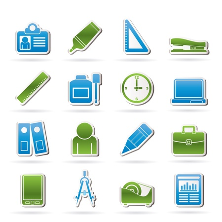 Business and office objects icons Stock Vector - 14396963