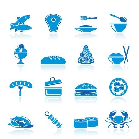 steak plate: Diferentes tipos de iconos de alimentos Vectores