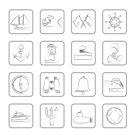 Marine, sea and nautical icons Vector