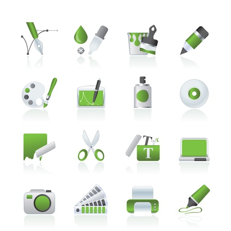 Кнопки: Графические и веб-дизайн иконы - векторный набор иконок Иллюстрация