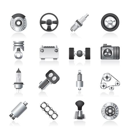 car parts: Diferentes tipos de piezas del coche icónico establece