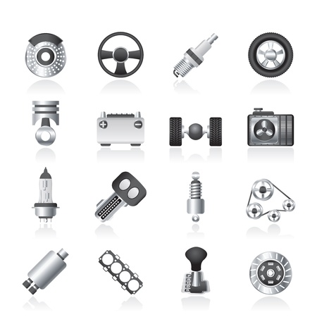 automatic transmission: Different kind of car parts icons icon set