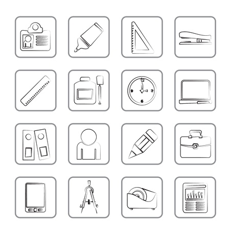 corrector: Business and office objects icons icon set Illustration