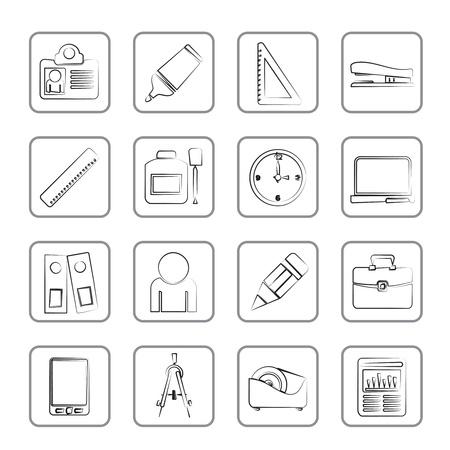correttore: Business e ufficio oggetti icona icone set