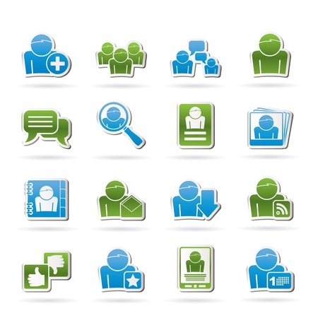 Social Media and Network icons icon set Stock Vector - 14492081
