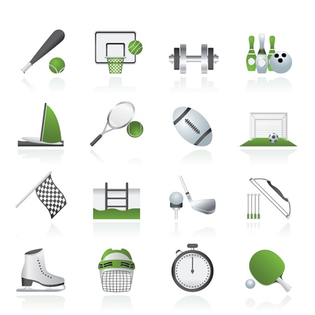 Sport objects icons - vector icon set Illustration
