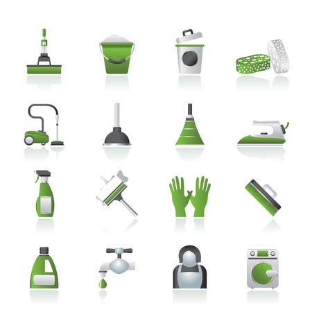 cleaning floor: Cleaning and hygiene icons - vector icon set