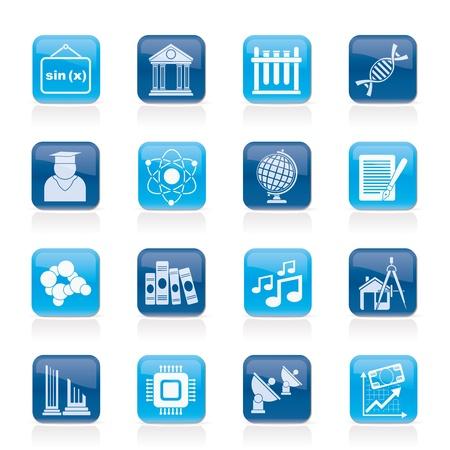 iconos educacion: Universidad y los mayores iconos de la educaci�n - conjunto vector icono Vectores