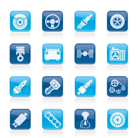 cooling: Different kind of car parts icons - vector icon set