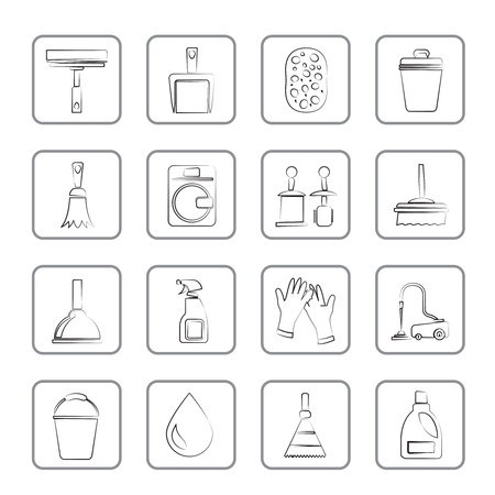 cleaning equipment: Cleaning and hygiene icons - vector icon set