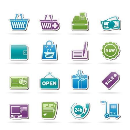 maquina registradora: comerciales y al por menor iconos - conjunto de icono de vector Vectores