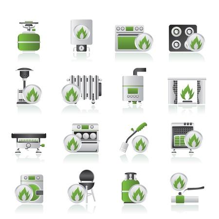 chemin�e gaz: Appareils �lectrom�nagers gaz ic�nes - jeu d'ic�nes vecteur
