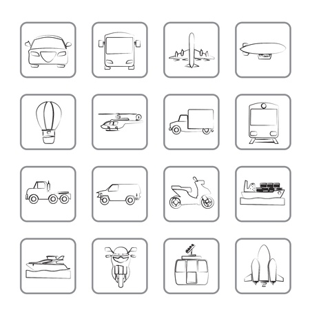 Transportation and travel icons - icon set Vector