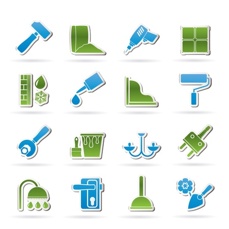 lighting equipment: Construction and building equipment Icons - vector icon set 1 Illustration