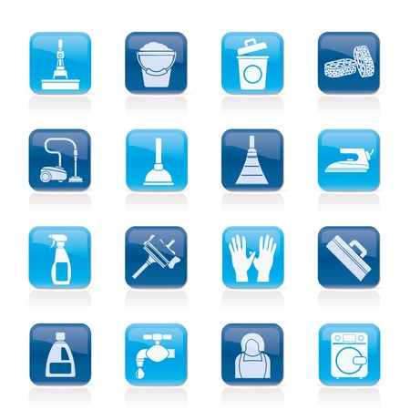 Cleaning and hygiene icons - vector icon set Stock Vector - 14771343