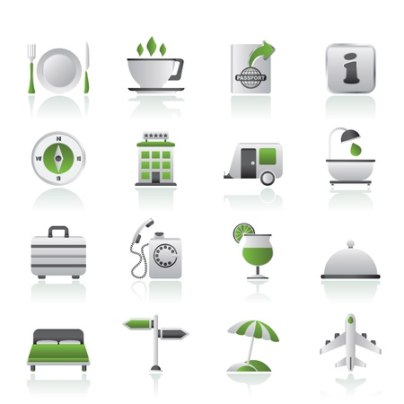 hotel icon: Traveling and vacation icons - vector icon set