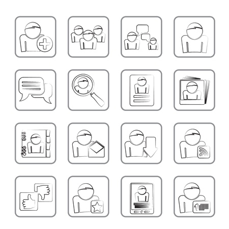Social Media and Network icons - vector icon set Stock Vector - 14771339