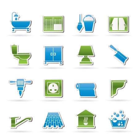 loodgieterswerk: Bouw en uitrusting van gebouwen Icons - vector icon set 2 Stock Illustratie