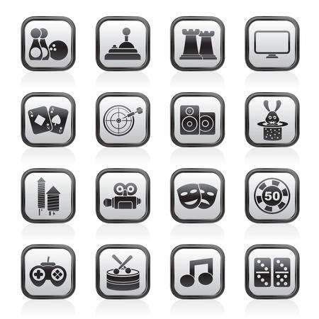 jeu de carte: objets de divertissement icônes Illustration