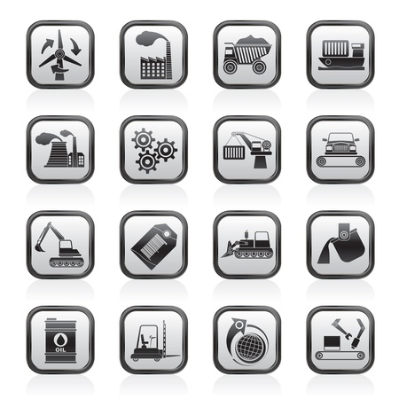 mine site: different kind of business and industry icons