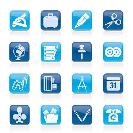 Business and office objects icons Stock Vector - 14887016