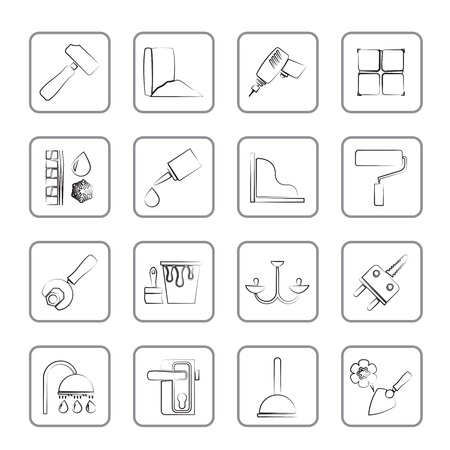 Construction and building equipment Icons Stock Vector - 14887041