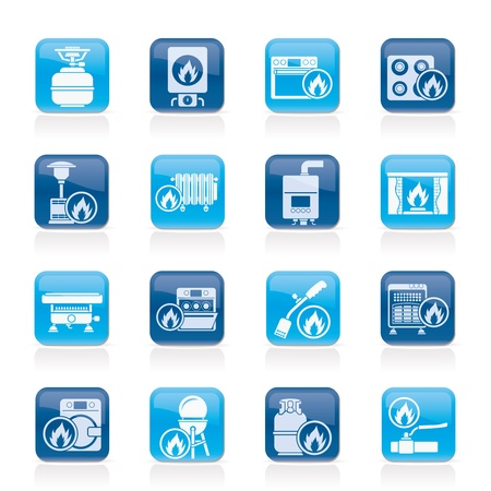Household Gas Appliances icons Stock Vector - 14993042