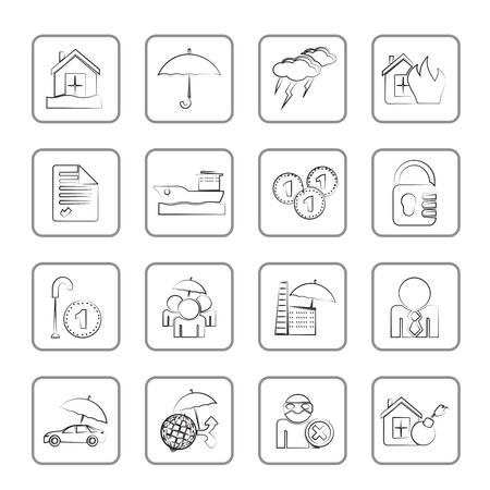 Icônes d'assurance et le risque - jeu d'icônes vecteur Vecteurs