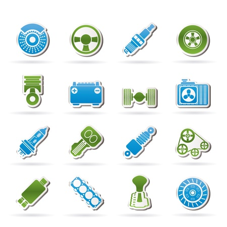 gearbox: Different kind of car parts icons - vector icon set